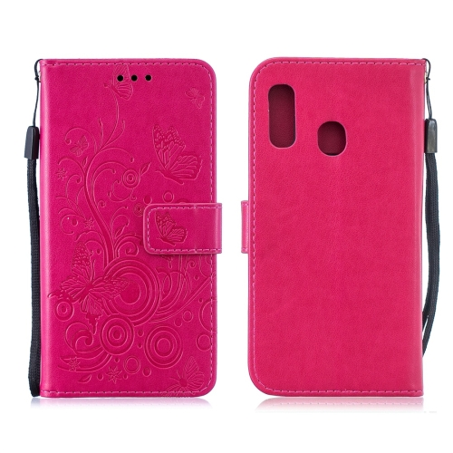 For Galaxy A40 - Butterflies Love Flowers Pattern Horizontal Flip Leather Case with Holder & Card Slots & Wallet & Lanyard(Rose Red)