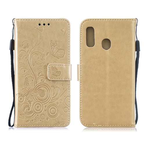 For Galaxy A40 - Butterflies Love Flowers Pattern Horizontal Flip Leather Case with Holder & Card Slots & Wallet & Lanyard(Gold)