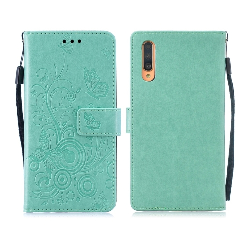 For Galaxy A50 / A30s / A50s - Butterflies Love Flowers Pattern Horizontal Flip Leather Case with Holder & Card Slots & Wallet & Lanyard(Green)