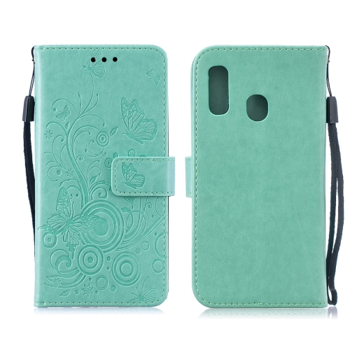 For Galaxy A60 / M40 - Butterflies Love Flowers Pattern Horizontal Flip Leather Case with Holder & Card Slots & Wallet & Lanyard(Green)