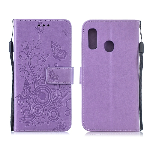 For Galaxy A60 / M40 - Butterflies Love Flowers Pattern Horizontal Flip Leather Case with Holder & Card Slots & Wallet & Lanyard(Purple)