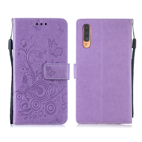 For Galaxy A70 / A70s - Butterflies Love Flowers Pattern Horizontal Flip Leather Case with Holder & Card Slots & Wallet & Lanyard(Purple)
