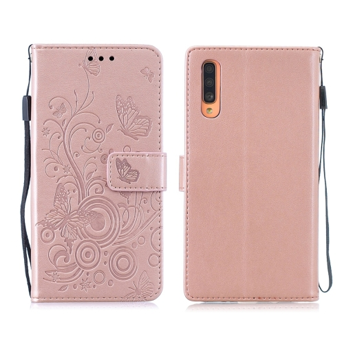 For Galaxy A70 / A70s - Butterflies Love Flowers Pattern Horizontal Flip Leather Case with Holder & Card Slots & Wallet & Lanyard(Rose Gold)
