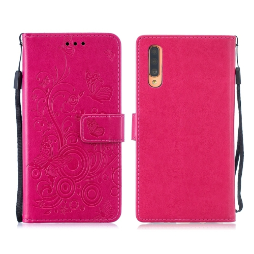 For Galaxy A70 / A70s - Butterflies Love Flowers Pattern Horizontal Flip Leather Case with Holder & Card Slots & Wallet & Lanyard(Rose Red)