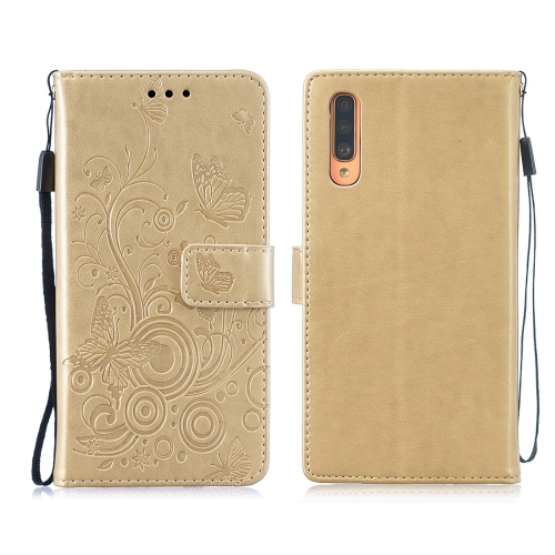 For Galaxy A70 / A70s - Butterflies Love Flowers Pattern Horizontal Flip Leather Case with Holder & Card Slots & Wallet & Lanyard(Gold)