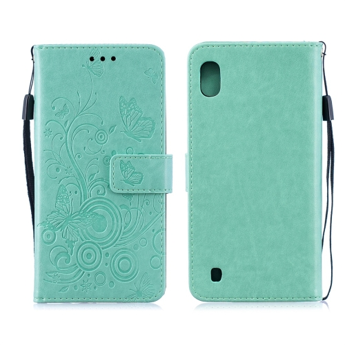 For Galaxy M10 - Butterflies Love Flowers Pattern Horizontal Flip Leather Case with Holder & Card Slots & Wallet & Lanyard(Green)