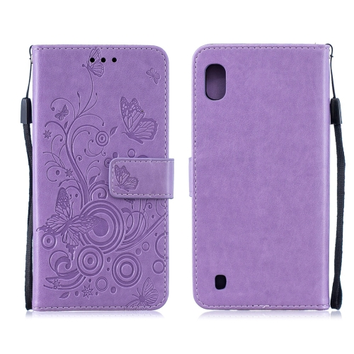 For Galaxy M10 - Butterflies Love Flowers Pattern Horizontal Flip Leather Case with Holder & Card Slots & Wallet & Lanyard(Purple)