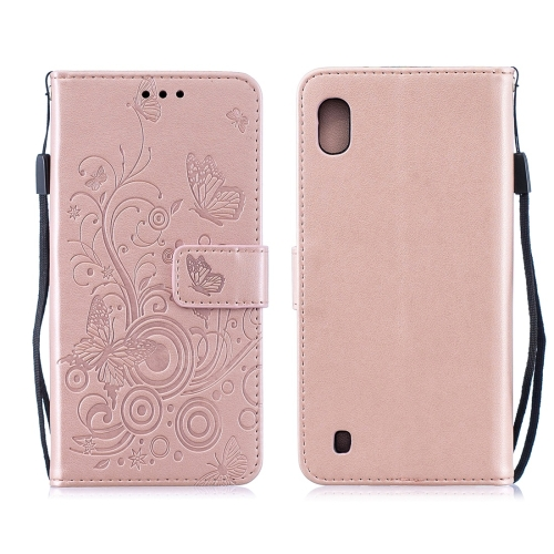 For Galaxy M10 - Butterflies Love Flowers Pattern Horizontal Flip Leather Case with Holder & Card Slots & Wallet & Lanyard(Rose Gold)