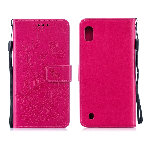 For Galaxy M10 - Butterflies Love Flowers Pattern Horizontal Flip Leather Case with Holder & Card Slots & Wallet & Lanyard(Rose Red)