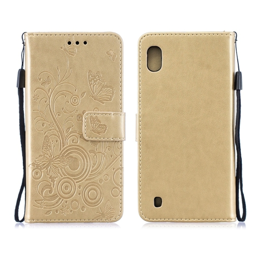 For Galaxy M10 - Butterflies Love Flowers Pattern Horizontal Flip Leather Case with Holder & Card Slots & Wallet & Lanyard(Gold)
