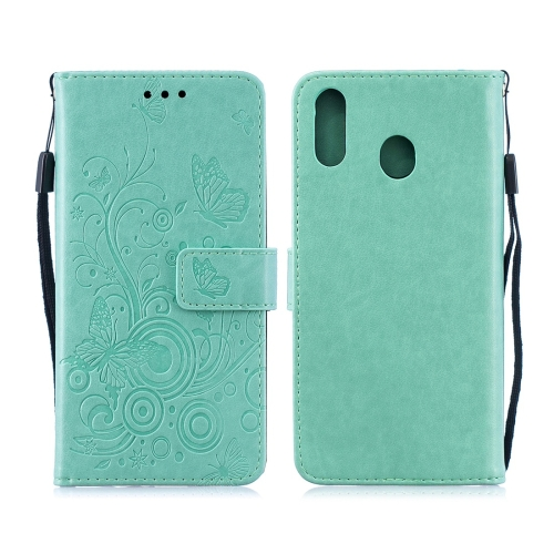 For Galaxy M20 - Butterflies Love Flowers Pattern Horizontal Flip Leather Case with Holder & Card Slots & Wallet & Lanyard(Green)