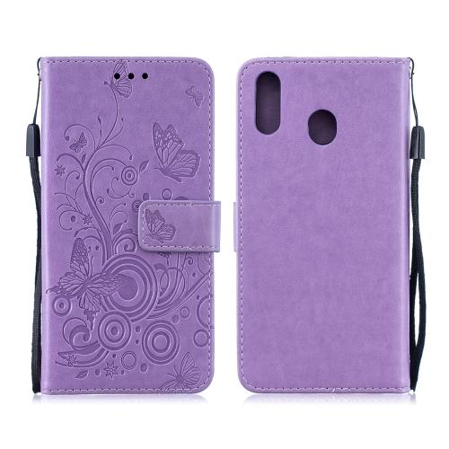 For Galaxy M20 - Butterflies Love Flowers Pattern Horizontal Flip Leather Case with Holder & Card Slots & Wallet & Lanyard(Purple)