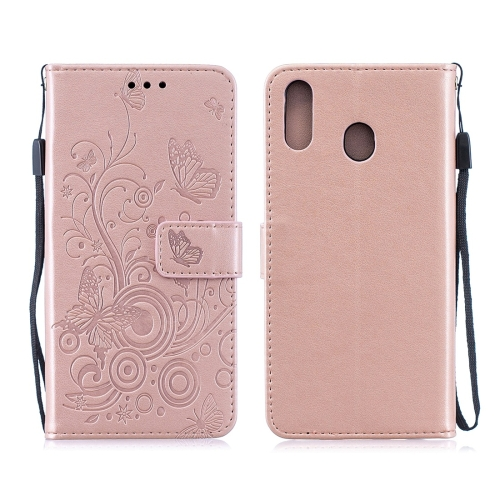 For Galaxy M20 - Butterflies Love Flowers Pattern Horizontal Flip Leather Case with Holder & Card Slots & Wallet & Lanyard(Rose Gold)