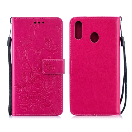 For Galaxy M20 - Butterflies Love Flowers Pattern Horizontal Flip Leather Case with Holder & Card Slots & Wallet & Lanyard(Rose Red)