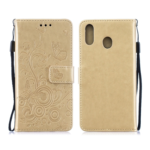 For Galaxy M20 - Butterflies Love Flowers Pattern Horizontal Flip Leather Case with Holder & Card Slots & Wallet & Lanyard(Gold)
