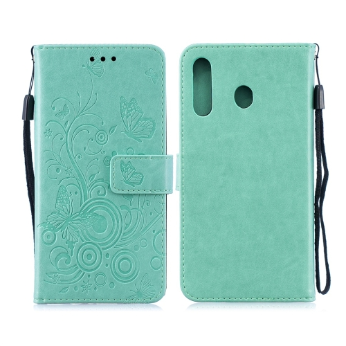 For Galaxy M30 - Butterflies Love Flowers Pattern Horizontal Flip Leather Case with Holder & Card Slots & Wallet & Lanyard(Green)