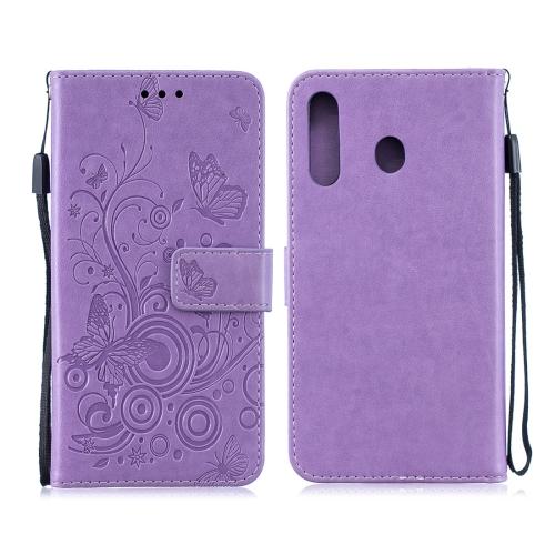 For Galaxy M30 - Butterflies Love Flowers Pattern Horizontal Flip Leather Case with Holder & Card Slots & Wallet & Lanyard(Purple)
