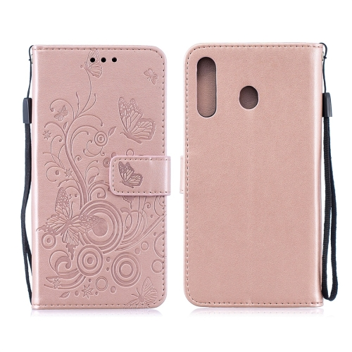 For Galaxy M30 - Butterflies Love Flowers Pattern Horizontal Flip Leather Case with Holder & Card Slots & Wallet & Lanyard(Rose Gold)