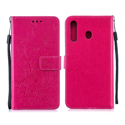For Galaxy M30 - Butterflies Love Flowers Pattern Horizontal Flip Leather Case with Holder & Card Slots & Wallet & Lanyard(Rose Red)