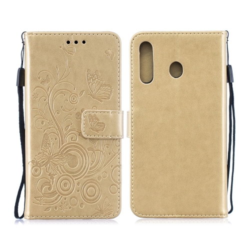 For Galaxy M30 - Butterflies Love Flowers Pattern Horizontal Flip Leather Case with Holder & Card Slots & Wallet & Lanyard(Gold)