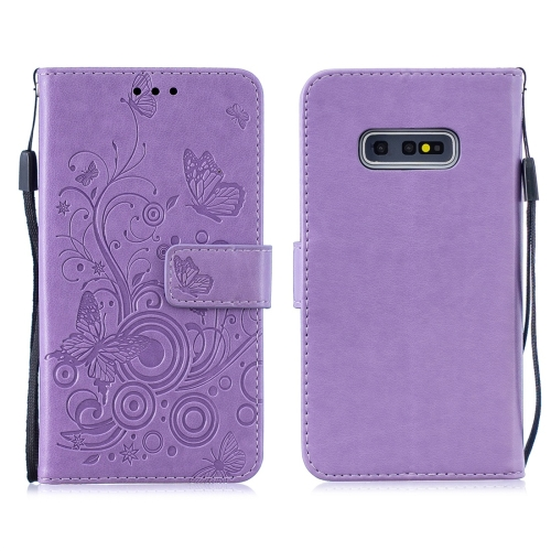 For Galaxy S10e - Butterflies Love Flowers Pattern Horizontal Flip Leather Case with Holder & Card Slots & Wallet & Lanyard(Purple)