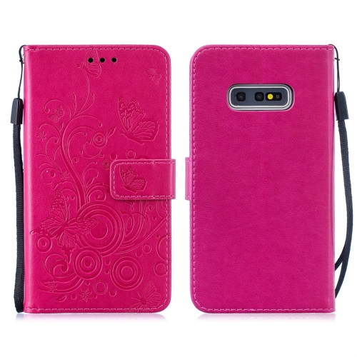 For Galaxy S10e - Butterflies Love Flowers Pattern Horizontal Flip Leather Case with Holder & Card Slots & Wallet & Lanyard(Rose Red)