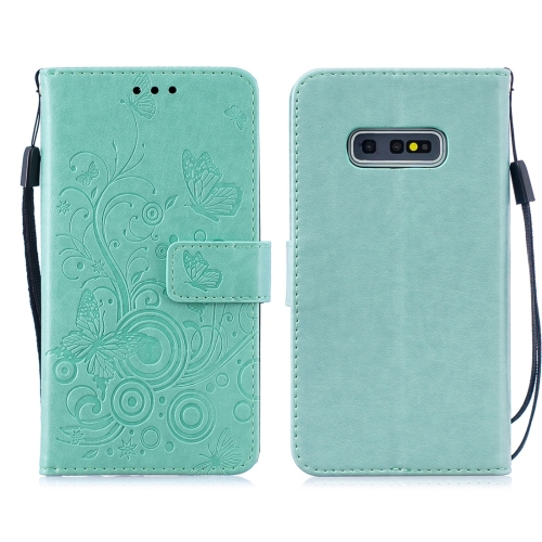For Galaxy S10 Plus - Butterflies Love Flowers Pattern Horizontal Flip Leather Case with Holder & Card Slots & Wallet & Lanyard(Green)