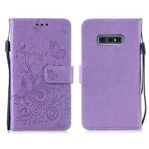 For Galaxy S10 Plus - Butterflies Love Flowers Pattern Horizontal Flip Leather Case with Holder & Card Slots & Wallet & Lanyard(Purple)