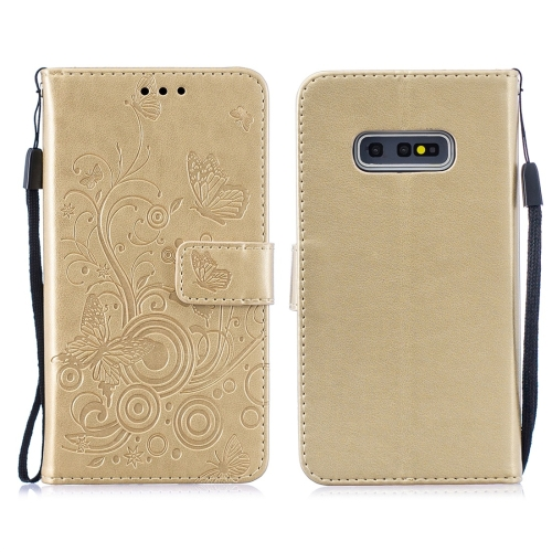 For Galaxy S10 Plus - Butterflies Love Flowers Pattern Horizontal Flip Leather Case with Holder & Card Slots & Wallet & Lanyard(Gold)