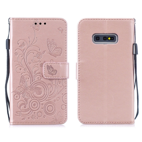 For Galaxy S10 - Butterflies Love Flowers Pattern Horizontal Flip Leather Case with Holder & Card Slots & Wallet & Lanyard(Rose Gold)