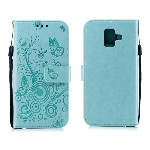For Galaxy A6 Plus (2018) - Butterflies Love Flowers Pattern Horizontal Flip Leather Case with Holder & Card Slots & Wallet & Lanyard(Green)