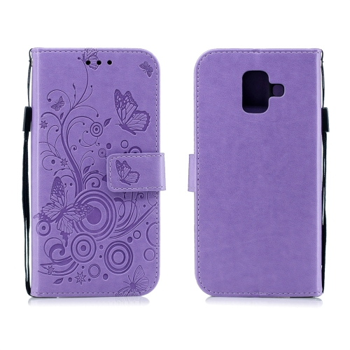 For Galaxy A6 Plus (2018) - Butterflies Love Flowers Pattern Horizontal Flip Leather Case with Holder & Card Slots & Wallet & Lanyard(Purple)