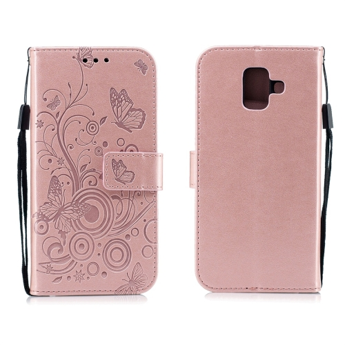 For Galaxy A6 Plus (2018) - Butterflies Love Flowers Pattern Horizontal Flip Leather Case with Holder & Card Slots & Wallet & Lanyard(Rose Gold)