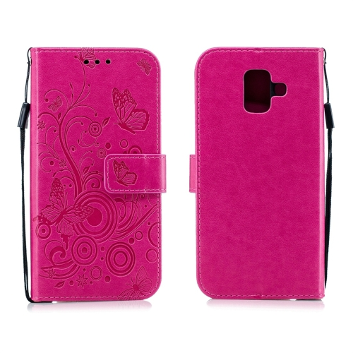 For Galaxy A6 Plus (2018) - Butterflies Love Flowers Pattern Horizontal Flip Leather Case with Holder & Card Slots & Wallet & Lanyard(Rose Red)