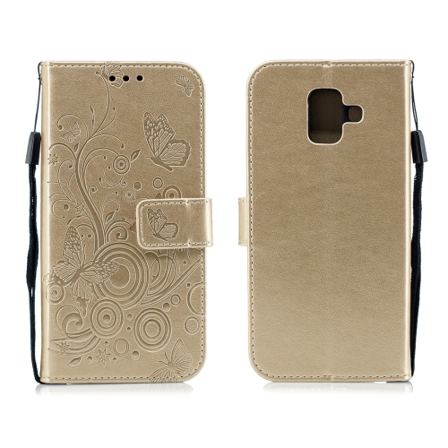 For Galaxy A6 Plus (2018) - Butterflies Love Flowers Pattern Horizontal Flip Leather Case with Holder & Card Slots & Wallet & Lanyard(Gold)