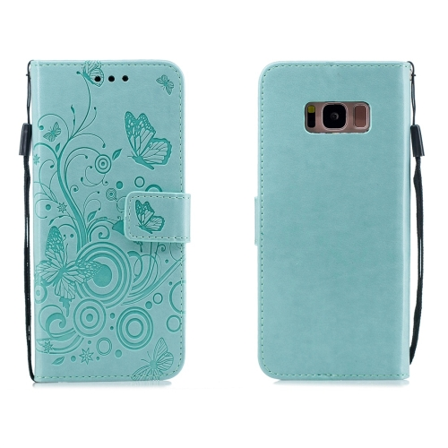 For Galaxy S8 - Butterflies Love Flowers Pattern Horizontal Flip Leather Case with Holder & Card Slots & Wallet & Lanyard(Green)