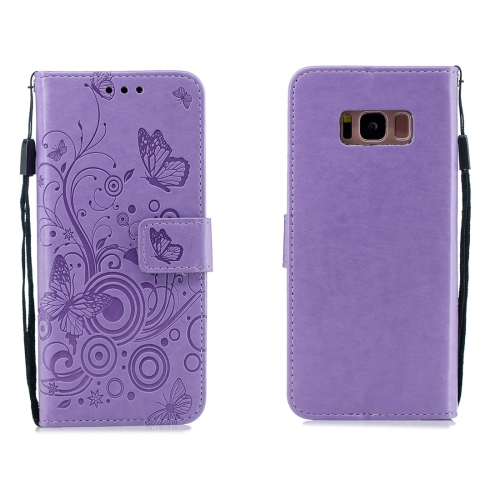 For Galaxy S8 - Butterflies Love Flowers Pattern Horizontal Flip Leather Case with Holder & Card Slots & Wallet & Lanyard(Purple)