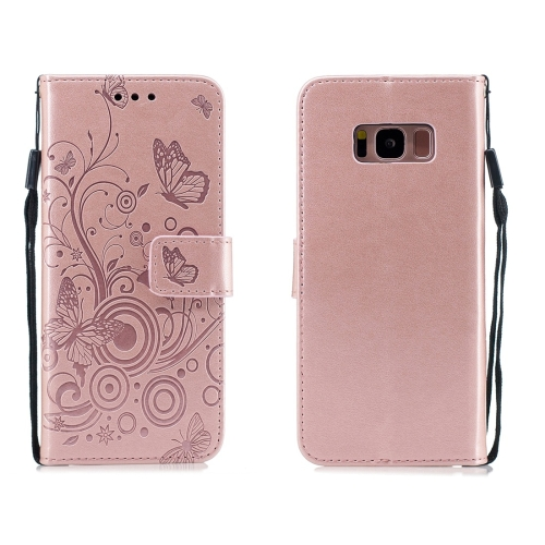 For Galaxy S8 - Butterflies Love Flowers Pattern Horizontal Flip Leather Case with Holder & Card Slots & Wallet & Lanyard(Rose Gold)