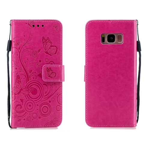 For Galaxy S8 - Butterflies Love Flowers Pattern Horizontal Flip Leather Case with Holder & Card Slots & Wallet & Lanyard(Rose Red)