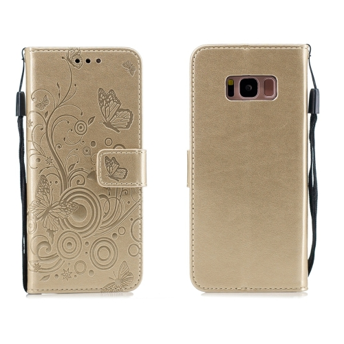 For Galaxy S8 - Butterflies Love Flowers Pattern Horizontal Flip Leather Case with Holder & Card Slots & Wallet & Lanyard(Gold)