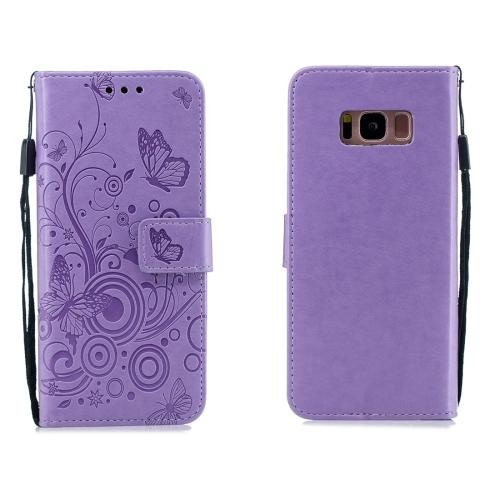 For Galaxy S8 Plus - Butterflies Love Flowers Pattern Horizontal Flip Leather Case with Holder & Card Slots & Wallet & Lanyard(Purple)