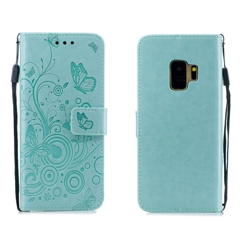 For Galaxy S9 - Butterflies Love Flowers Pattern Horizontal Flip Leather Case with Holder & Card Slots & Wallet & Lanyard(Green)