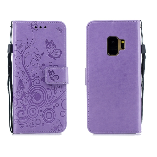 For Galaxy S9 - Butterflies Love Flowers Pattern Horizontal Flip Leather Case with Holder & Card Slots & Wallet & Lanyard(Purple)