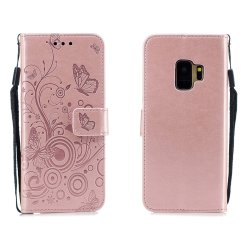 For Galaxy S9 - Butterflies Love Flowers Pattern Horizontal Flip Leather Case with Holder & Card Slots & Wallet & Lanyard(Rose Gold)