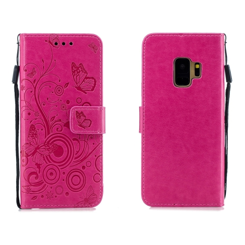 For Galaxy S9 - Butterflies Love Flowers Pattern Horizontal Flip Leather Case with Holder & Card Slots & Wallet & Lanyard(Rose Red)