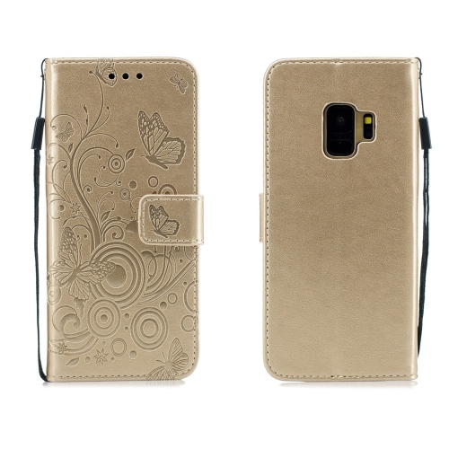 For Galaxy S9 - Butterflies Love Flowers Pattern Horizontal Flip Leather Case with Holder & Card Slots & Wallet & Lanyard(Gold)
