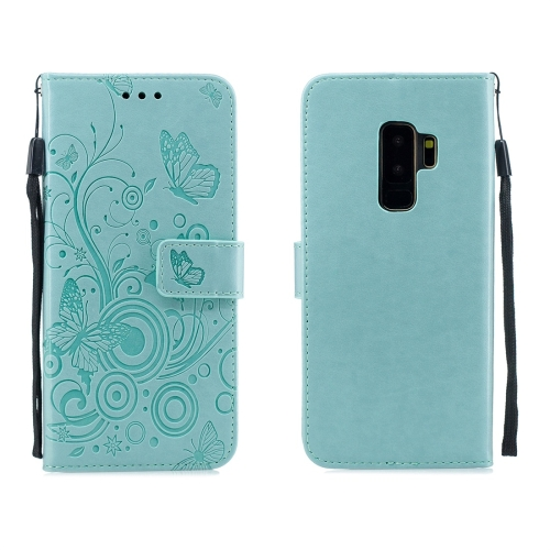 For Galaxy S9 Plus - Butterflies Love Flowers Pattern Horizontal Flip Leather Case with Holder & Card Slots & Wallet & Lanyard(Green)