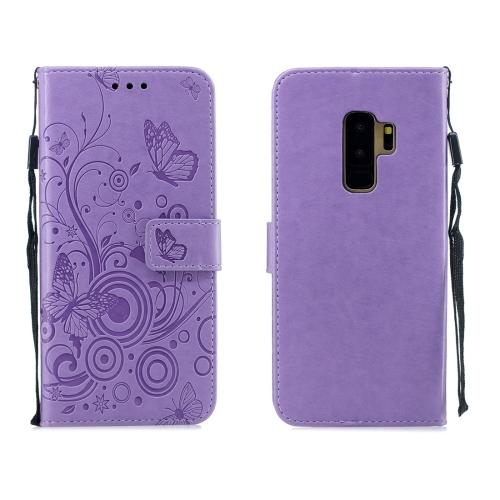For Galaxy S9 Plus - Butterflies Love Flowers Pattern Horizontal Flip Leather Case with Holder & Card Slots & Wallet & Lanyard(Purple)
