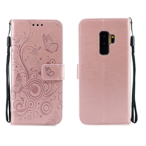For Galaxy S9 Plus - Butterflies Love Flowers Pattern Horizontal Flip Leather Case with Holder & Card Slots & Wallet & Lanyard(Rose Gold)