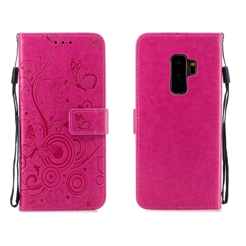 For Galaxy S9 Plus - Butterflies Love Flowers Pattern Horizontal Flip Leather Case with Holder & Card Slots & Wallet & Lanyard(Rose Red)